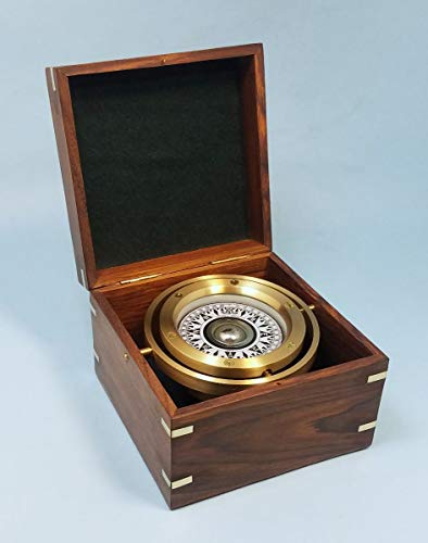 Brass Gimbaled Modern Nautical Sailboat Compass w/Hardwood Case