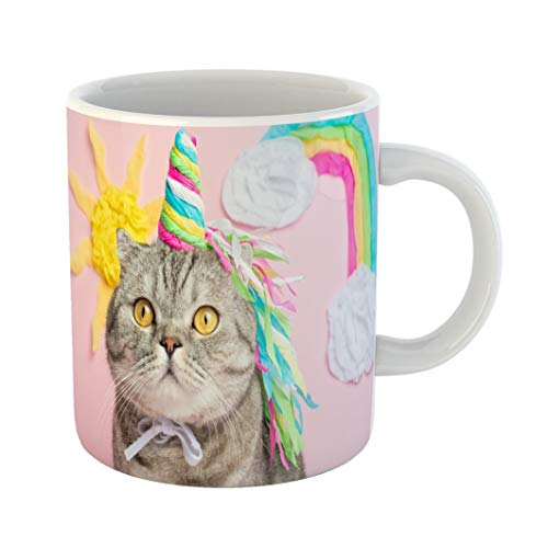 Emvency 11 Ounces Coffee Mug Animal Cat Unicorn on Pink in Suit Rainbow Horn Cute Kitten Look Skill Tenderness Love Fairytale and for Baby White Ceramic Glossy Tea Cup -