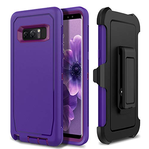 Galaxy Note 8 Holster Case, WeLoveCase 4 in 1 Hybrid Heavy Duty Shockproof Military Grade Defender Full Body Rugged Armor Cover with Swivel Belt Clip Protective Case for Samsung Galaxy Note 8, Purple