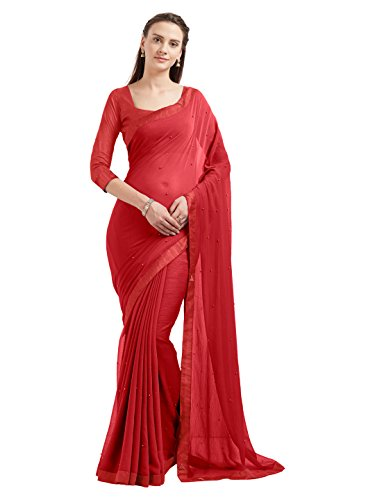 Women's Marble Chiffon Fancy Lace Border Saree Indian Dress (5540_Red)