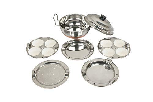 Encapsulated Bottom Copper Stainless - Royal Sapphire 5 In1 Induction with Encapsulated Copper Bottom Stainless Steel Cookware Set for Boiling, Steaming Seafood, Vegetables. Idli and Dumpling Maker Stand
