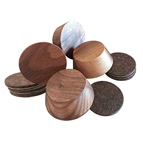 Walnut Wood Premium Furniture Risers (4 Pack) | Adds 1 Inch Extra Height for Cleaning & Convenience | Bed Risers, Desk Riser, Table Risers, Furniture Legs, Sofa Risers | Heavy Duty