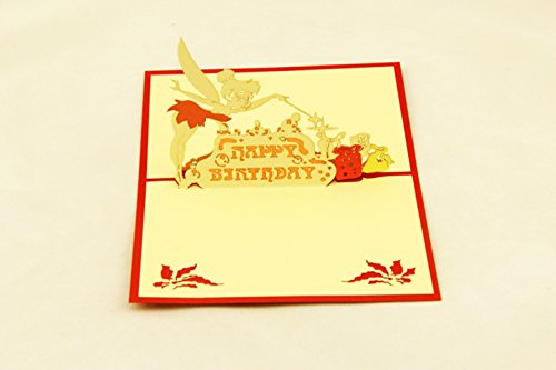 Qubiclife Handmade Creative Artistic 3D Stereo Pop Up Hollow Paper-Cut Christmas Invitations Cards Greeting Thank You Cards Papercraft Postcards-Tinker Bell]()