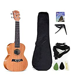 21 Inch Soprano Ukulele with Solid Mahogany Top, package Including Gig Bag, Strap, Spare Nylon Strings, Capo, Picks