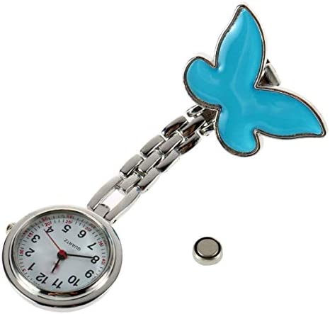 1ピースポケット医療看護師懐中時計女性ドレスウォッチ4色クリップオンペンダント吊り下げクォーツ時計蝶形ブルー