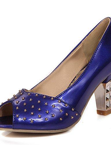 GGX/ Damenschuhe-High Heels-Kleid / Lässig / Party & Festivität-PU-Blockabsatz-Absätze / Zehenfrei-Blau / Rosa / Weiß / Beige blue-us7.5 / eu38 / uk5.5 / cn38