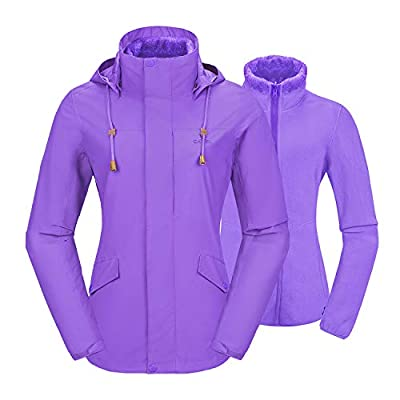 Camel Women's 3 in 1 Ski Jacket Waterproof with Inside Out Warm Fleece Coat Detachable Hooded Outdoor Snow Jacket