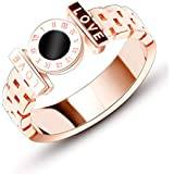 Fire Ants Women's Fashion Classic Double Row Love Ring- Rome Character Titanium Steel Ring Rose Gold(Size: 6-8) (7)