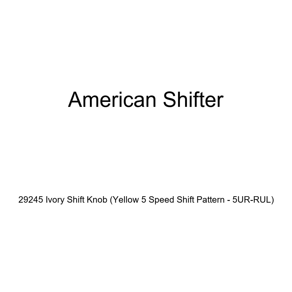 American Shifter 29245 Ivory Shift Knob Yellow 5 Speed Shift Pattern - 5UR-RUL