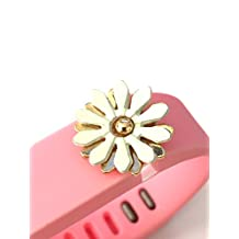 BSI 1pc Large Baby Pink Color Band with Jewelry Crystals Decoration /White Flower With Gold/ for Fitbit FLEX Only With Metal Clasp Replacement /No tracker/+ Nice Crystals Feather Brooch