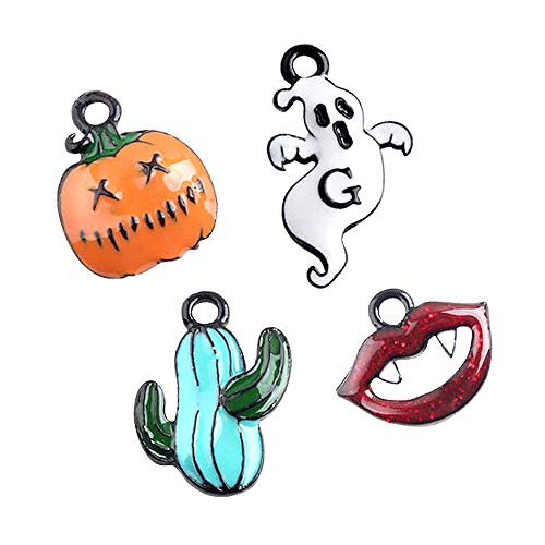 M271-E 8pcs New Tiny Halloween Cactus Blood Lip Pumpkin Ghost Bracelet Charms Pendants Wholesale -