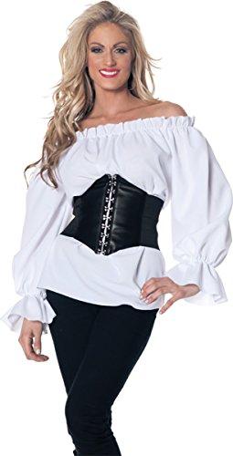 Shaper Corset White Chemise Shirt Top Medieval Peasant Blouse SC88523A,White,X-Large