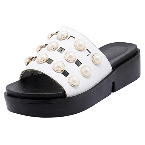 Women's TAOFFEN On Slip Shoes Sandals White Mules 8Hw7qxHa