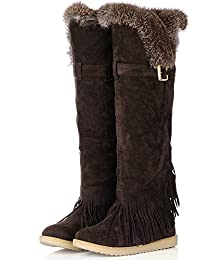 Womens Flat Heel Round Toe Fur Collar Over the Knee Boots Long Snow Boot