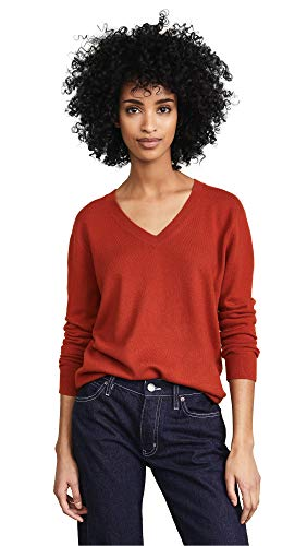 Vince Women's Weekend V Neck Cashmere Sweater, Adobe Red, Small