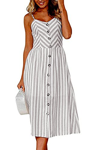 Angashion Women's Dresses-Summer Floral Bohemian Spaghetti Strap Button Down Swing Midi Dress with Pockets 0895 Grey 2XL