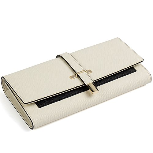 Clearance RFID Blocking Leather Wallet for Women Slim Clutch Purse Long Designer Trifold Ladies Credit Card Holder Organizer Cream White