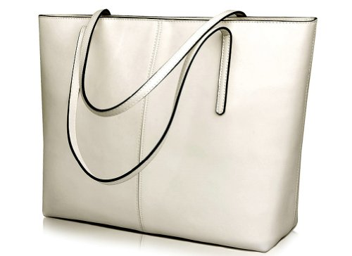 BeAllure Genuine Leather Handbag for Women Large Totes Shoulder (White Classic Tote)
