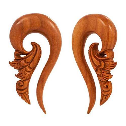 Pair | Organic Sabo Wood Intricate Carving Plug Hangers | 10g | - Intricate Organic Hanger Jewelry