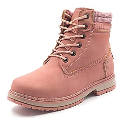 Xiakolaka Women Lace up Ankle Boots Fur Lined Combat Boots Winter Warm Booties Pink