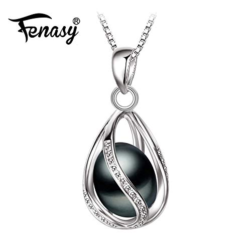 Black Pearl Necklace Trendy S925 Sterling Silver Geometric Cage Necklace Pendant for Women Girl Anniversary Birthday Gift - White