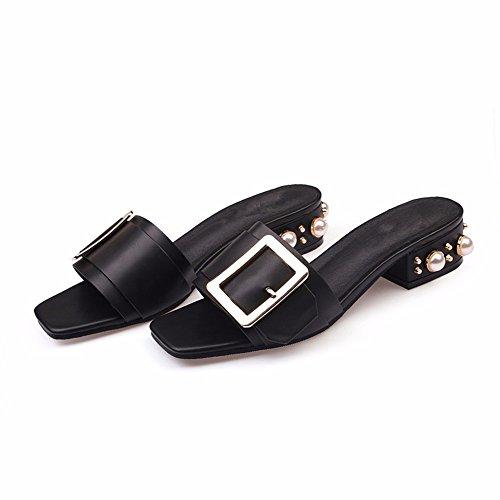 Nero Pantofole Fondo di YMR Cool Fuori al del Lady Piatto Estate Fashion Sandali Donna FY Marea Grandi di Cantieri w8qUpw1Z