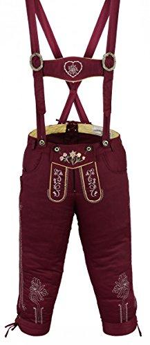 Damen Trachten Kniebundhose Jeans Hose kostüme mit Hosenträgern Weinrot, Größe:46