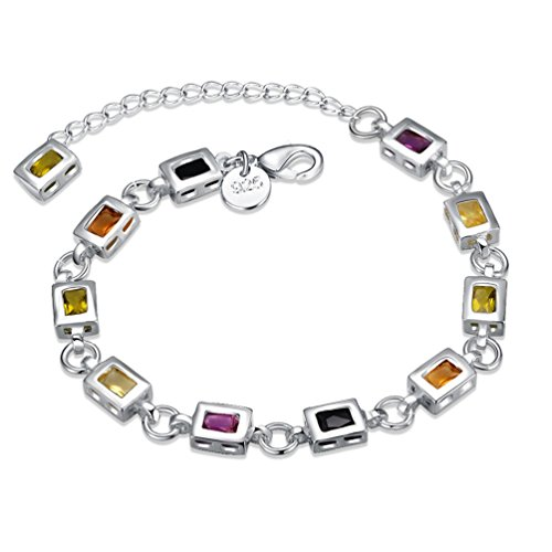 FENDINA Womens 925 Sterling Silver Plated Simulated Topaz Link Bracelets Multi-Colored Cubic Zirconia Rhinestone (Multi Colored Topaz Bracelet)