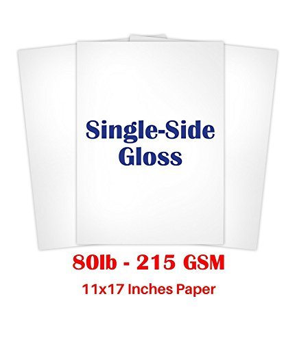 """11"""" X 17"""" Inches Single Sided Heavyweight Glossy Cardstock - Pack of 50 Sheets"""