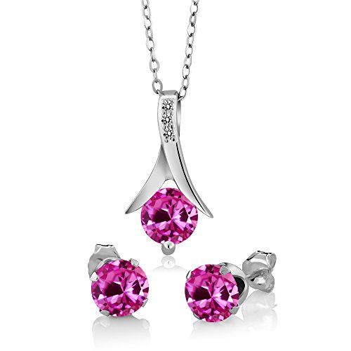 Sapphire Set Jewelry Diamond (3.05 Ct Pink Created Sapphire White Diamond 925 Sterling Silver Pendant Earrings Set)