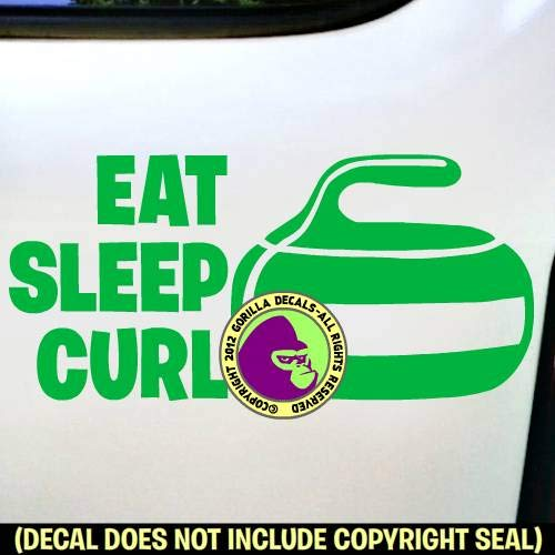 EAT SLEEP CURL Curling Stone Sport Game Player Vinyl Decal Sticker E