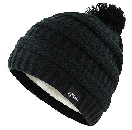 Fear0 Extreme Winter Cold Weather Womens White Black Chunky Cable Knit Wool Warm Insulated Pom Pom Beanie Hat One Size (Black)