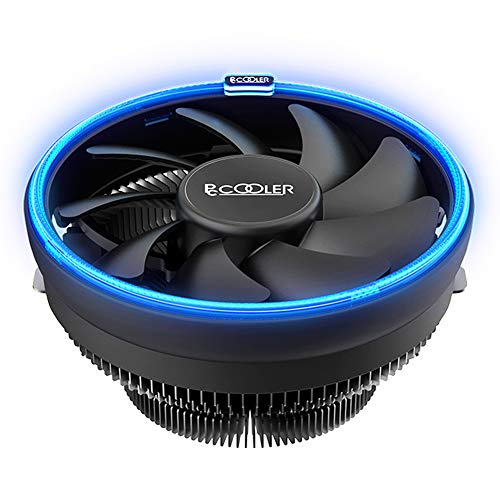 Pccooler E126M B Low-Profile CPU Cooler Moonlight Series | SilentPro PWM CPU Fan 120mm with Corona LED Blue Frame | Turbocharged Design | All-Round Cooling for Computer PC Case, Intel, AMD Series