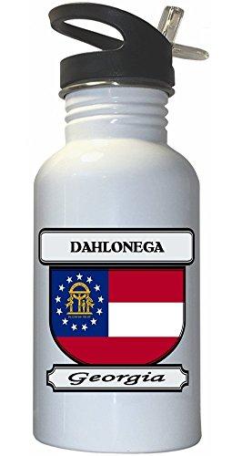 Dahlonega, Georgia (GA) City White Stainless Steel Water Bottle Straw Top