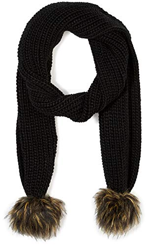 - Under Zero Women's Black Knit Scarf with Faux Fur Pompom Ball