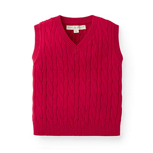 Boys Red Sweater Vest - Hope & Henry Boys' Red Cable Sweater Vest