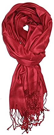 TC Luxurious Pashmina Wrap Throw Elegant Solid Color Viscose Fringe Scarf - Burgundy