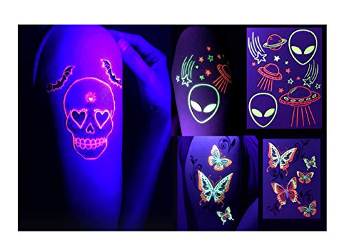 (d'IRIS studio Glow Party Accessories- Butterflies/Aliens/Skulls Temporary Tattoos-Glow in The Dark Blacklight Flash Neon Paint Henna Rave EDM Festival Decoration Nightclub Body Art Tattoo)