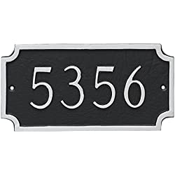 "Montague Metal Princeton Petite Address Sign Plaque, 4"" x 7.75"", White/Black"