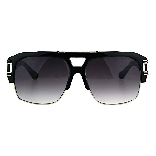 Mens Mobster Half Rim Gradient Lens Mafia Racer Aviator Sunglasses Black Silver - 160mm Sunglasses