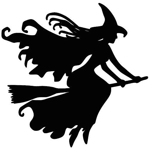 smallwoodi Car Sticker,Witch On Broomstick Halloween Car Vehicle Reflective Decals Sticker Decoration Witch On A Broom Vinyl Sticker Witchcraft Halloween Black]()