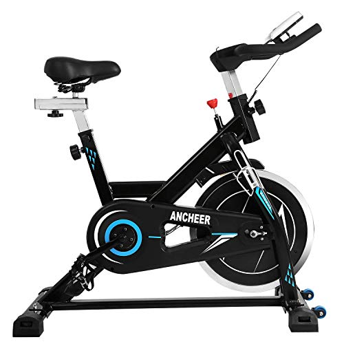 ANCHEER Indoor Cycling Bike - Stationary Exercise Bikes with Adjustable Resistance and LCD Monitor for Home Exercise, 49LBS Flywheel (Model: ANCHEER-B3008) (Black_Blue)