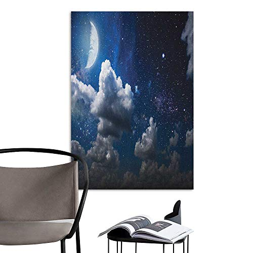 Scenery Wall Sticker Clouds Celestial Solar Night Scene Stars Moon and Clouds Heaven Place in Cosmos Theme Dark Blue White Children's Room Wall W8 x H10