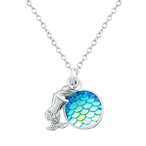 Monily Minimalist Mermaid Necklace Fish Scale Pendant Necklace for Women