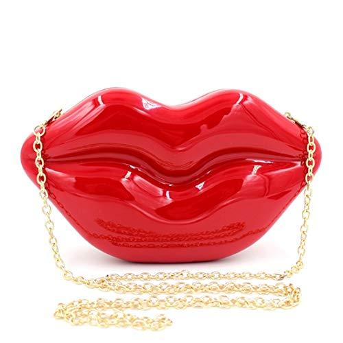 del borsa della del di Red Clutch delle porpora acrilico 3d sexy della spalla borsa crossbody partito rossa della della FUBULE spalla borsa della donne OvqPw5