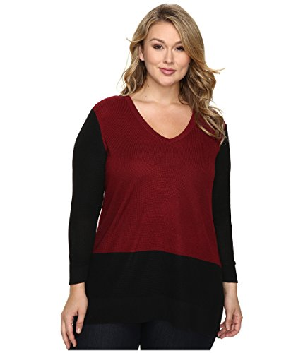 - Vince Camuto Plus Women's Plus Size Long Sleeve V-Neck Neck Waffle-Stitch Color Block Sweater Malbec Red Sweater 2X (US 18W-20W)