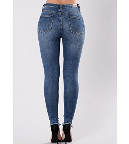 Lunghi Blu Strappati Jeans Vita Ricamati Up Bassa Donna Pantaloni Push Jeans Elastici Stirati Invecchiati Owxpq85FW