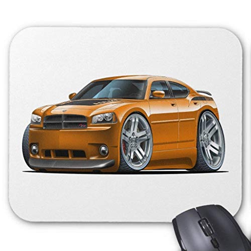 SSJJGI Mouse Pad Decorated Mouse Pad Anti-Friction Wristband Dodge Charger Daytona Orange Car Mouse Pad 7.1X8.6 inches