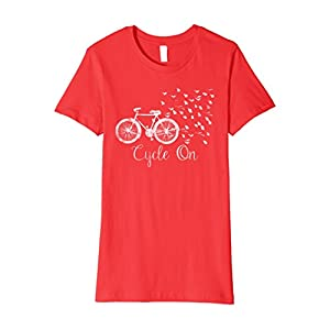 Womens Cute Bicycle & Butterfly T Shirt for Women Medium Red