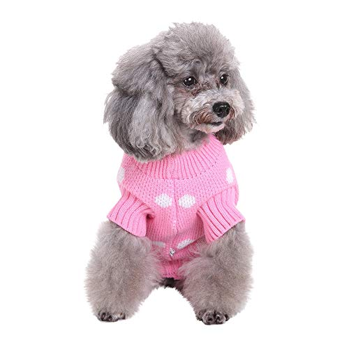 BingYELH Pet Polka Dot Sweater Apparel for Small Dog Girls Boys Winter Warm Sweater Coat Puppy Costume for Chihuahua